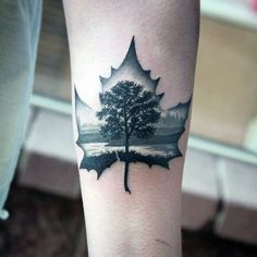 Canadian Maple Leaf Tattoo For Men