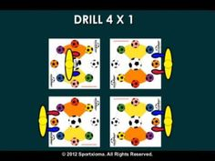 SoccerMat drill for today for exercising and developing sports skills with a soccer ball— Sequence: Drill 4x1