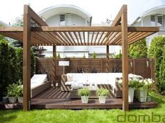 There are lots of pergola designs for you to choose from. First of all you have to decide where you are going to have your pergola and how much shade you want. Pergola Canopy, Outdoor Pergola, Wooden Pergola, Backyard Pergola, Pergola Plans, Pergola Ideas, Pergola Lighting, Pergola Carport, Pergola Patio