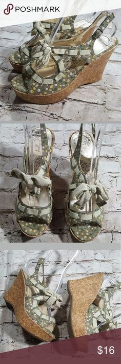 "Jellypop Green Floral Cork Wedge Platform Sandal Jellypop ""Day Dream"" sz 8.5? Heel height 4.5""? Very Gently pre-owned jellypop Shoes Wedges"