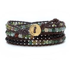 INDIAN AGATE AND BLACK AGATE 2 STONE 3 WRAP BRACELET