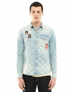 Bershka Indonesia -Patchwork quilted denim shirt