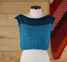 crop azul - blusas elô bertô tricô