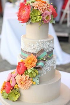 Rustic Wedding Cake by The People's Cake / http://www.deerpearlflowers.com/rustic-country-burlap-wedding-cakes/