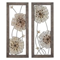 UMA Enterprises 2 Piece Metal Flowers Wall Sculpture - Silver & Brown - 54441