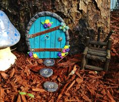 Polymer clay fairy door and stepping stones!