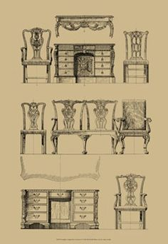 'Chippendale' was one of the most popular designers of the Georgian time period. This image identifies his vision across many aspects of his furnishing designs.