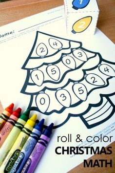 Roll and Color Christmas Math for preschool and kindergarten. Free printable Christmas tree number matching activity