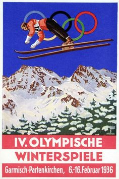 This colorful postcard celebrates the arrival of the Winter Olympics to the picturesque German town of Garmisch-Partenkirchen. Alpine skiing made its first appearance at these games in 1936 Olympics, Berlin Olympics, Vintage Ski Posters, Vintage Postcards, Nazi Propaganda, Ww2 Posters, Sports Posters, Youth Olympic Games, Picture Postcards