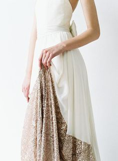 Chiffon and rose gold sequinned wedding gown