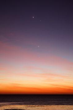 Venus, Mercury, Jupiter, and Mars