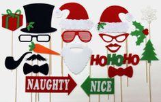 Christmas Photo Booth Props Holiday PhotoBooth Santa Clause Snowman Mistletoe