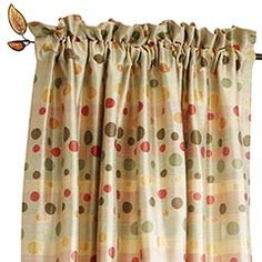 Sunset Polka Dot curtains... Pier 1 $19.88/panel  Looking for ideas for the family room when we remove the shutters...