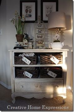 Really neat idea for dresser with damaged drawers!  creativehomeexpressions blog