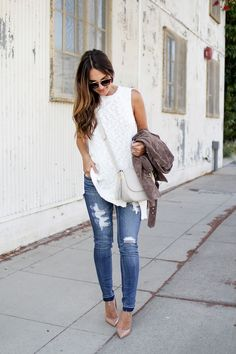 A white shirt with blue jeans is one of my favorite looks on a guy. Christian knows this and will often pull this look out on date nights (so he does listen to my closet ramblings!). Recently I wore t