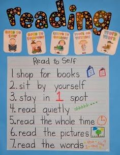 cute reading poster- this can be use in like reading time rules the kids have to follow when there learning to read and there just rules and  steps they can use