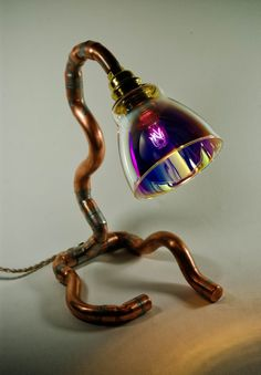 Copper Desk Lamp Copper Table Lamp Steam Punk by MarzaShop on Etsy, $80.00