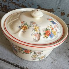 Vintage floral covered casserole red rimmed. by MulfordCottage