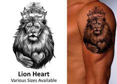 Lion Heart - Temporary Tattoo