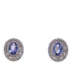 Rarities Fine Jewelry with Carol Brodie Rarities: Fine Jewelry with Carol Brodie 1.88ctw Tanzanite and White Zircon Sterling Silver Stud Earrings