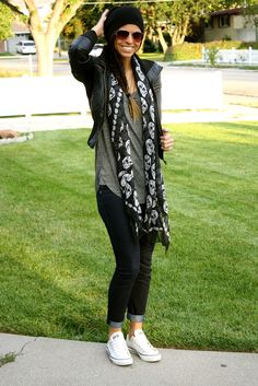 skull scarf, leather jacket, beanie, top guns, skinny jeans, converse and shirt
