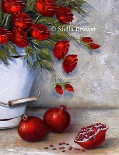 Stella Bruwer Stella Art, Acrylic Painting Flowers, South African Artists, Beautiful Flowers, Decoupage, Red And White, Arts And Crafts, Drawings, Pomegranates