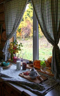 Wooden house window view with curtains on We Heart It Cottage In The Woods, Cozy Cottage, Cottage Homes, Sweet Home, Window View, House Windows, Wooden House, Wooden Cottage, My Dream Home