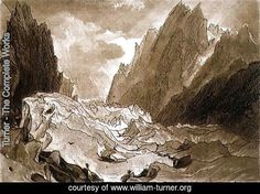 Mer de Glace, Valley of Chamouni, Savoy, from the Liber Studiorum, engraved by the artist, 1812 | Turner. Large resolution image, ecard, rating, slideshow and more!