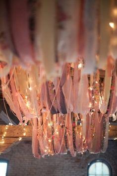 Wedding reception decor, ribbon and string lights! Wedding Reception Decorations, Wedding Ceremony, Our Wedding, Wedding Venues, Dream Wedding, 2017 Wedding, Wedding Designs, Wedding Styles, Chandeliers