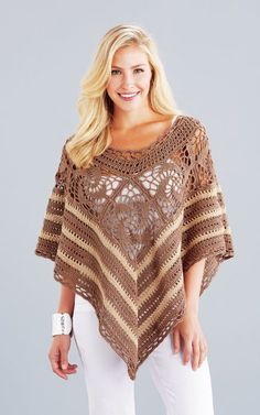 Gorgeous lightweight poncho to dress up or wear casual. Shown in Mocha/Cottonwood or choose any 2 Fresh colors. Crochet Butterfly, Crochet Lace, Crochet Tops, Crochet Scarves, Crochet Clothes, Crochet Accessories, Fashion Accessories, Denim Bags From Jeans, Modern Crochet Patterns