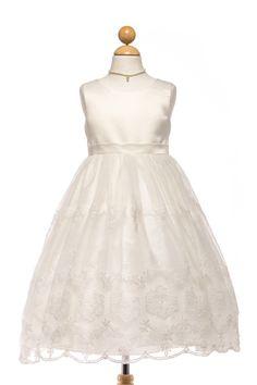 satin with embroidered flower girl dress. #flowergirldress #Petiteadele #ivorydress #satindress #girlsdress