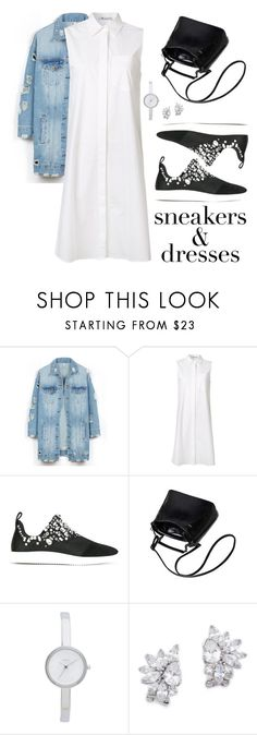 """Sneakers & Dresses"" by tulips04 ❤ liked on Polyvore featuring LE3NO, T By Alexander Wang, Giuseppe Zanotti, DKNY and Kenneth Jay Lane"