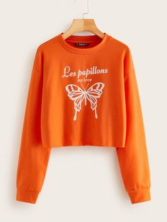 Shein Neon Orange Butterfly and Slogan Print Pullover Graphic Design Quotes, Orange Butterfly, Spandex Material, Cute Tops, Types Of Sleeves, Slogan, Fashion News, Casual Outfits, Pullover