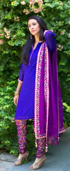 Blue Kameez with Floral Churidar and Purple Embroidered Border Dupatta