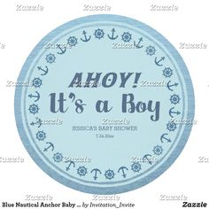 Blue Nautical Anchor Baby Boy Shower Round Paper Coaster Personalize this funny its a boy baby shower product for the expecting parents featuring a watercolor blue foreground with anchors and ship wheel with a old wood toned background.