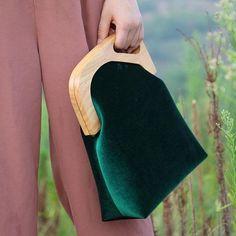 Wooden Handbag Velvet Clutch Vintage Embroidery Evening Handbag Women | Evergiftz