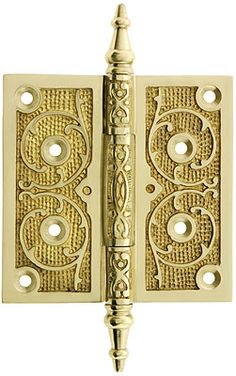 """5"""" Solid Brass Steeple Tip Hinge With Decorative Vine Pattern in Polished Brass Finish"""