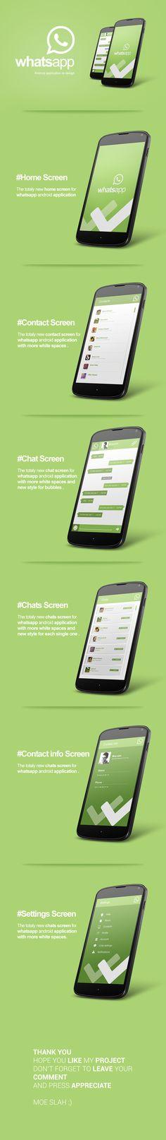 Whatsapp Android App Re-design by Moe slah, via Behance