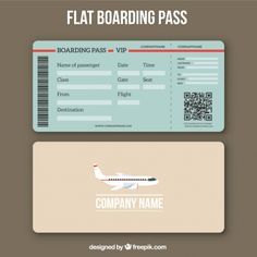 Boarding pass template with qr code in flat design vector free Freepik Boarding Pass Template, Boarding Pass Invitation, Ticket Template Free, Templates Printable Free, Passport Template, Instruções Origami, Travel Party, Travel Trip, Passport Invitations