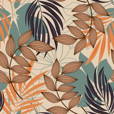 Trend Abstract Seamless Pattern With Colorful Tropical Leaves And Plants On Beige - - Discover thousands of Premium vectors available in AI and EPS formats. Tropical Flowers, Motif Tropical, Tropical Pattern, Tropical Leaves, Tropical Prints, Tropical Design, Jungle Pattern, Motif Jungle, Pattern Art