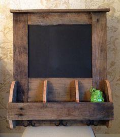 Reclaimed Pallet Wood Chalkboard/Organizer