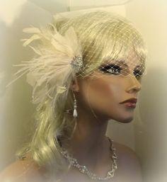 Wedding Fascinator Bridal Veil French Net Veil by kathyjohnson3