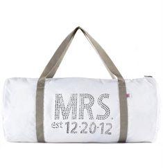 Mrs & Wedding Date Custom Rhinestone Duffle White   The House of Bachelorette