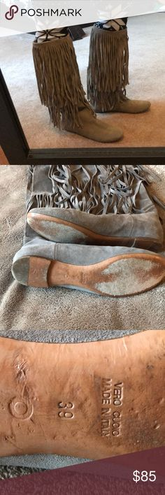 Made in 🇮🇹 Italy 🇮🇹 Vero Cuoio Fringe Boot Beautiful, Trendy Suede Fringe Boot!  Well made in Italy.  Lightly worn with A LOT of life left and no visual signs of wear.    Make me an offer! Vero Cuoio Shoes Flats & Loafers
