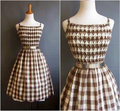 1950s Mr. Mort gingham dress smocking spaghetti straps 50s sundress 1950s sundress vintage gingham smocked