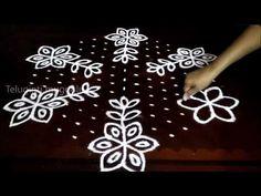 Simple flowers kolam designs with 15-8 middle | chukkala muggulu with dots| rangoli design - YouTube