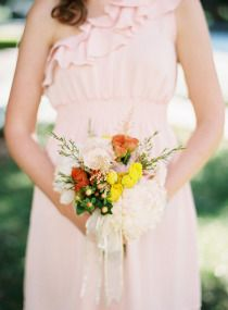 bridal bouquet - country / rustic - yellow, orange, white