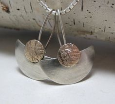 Brushed Sterling Silver Fan Earrings. $42.00, via Etsy.