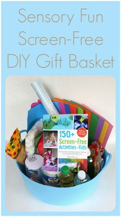 Gift Idea ~ Sensory Fun Screen-Free DIY Gift Basket featuring 150+ Screen-Free Activities for Kids!
