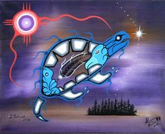 """*Freddy Taylor* (Anishnaabe) Whetung Gallery, Curve Lake """"A Turtle's Voice"""" acrylic on canvas8)"""